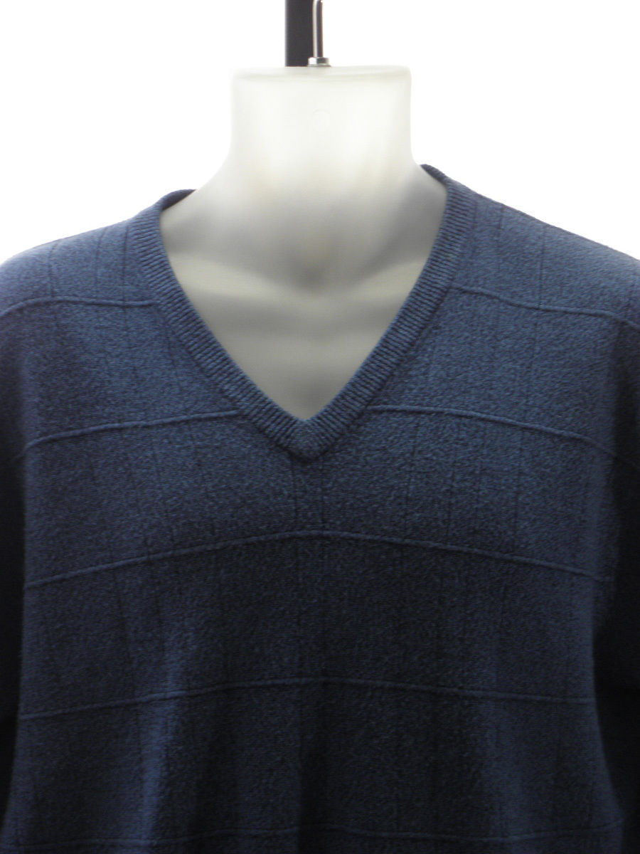 Geoffrey Beene 100% Acrylic Solid Blue V-Neck Pullover Sweater Sz: L