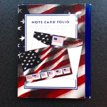 Note Card Folio Foil Accents American Flag Fourth July 4x6 USA New Stati... - $5.94