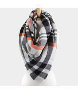 Plaid Check Square Large Blanket Scarf with Frayed Edges - Grey, Multi 2... - $20.22 CAD