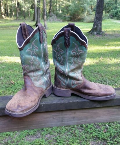 L2904 Justin Gypsy Turquoise Cowgirl Boots 7B WELL WORN leather