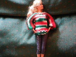 Handmade Barbie Sweater Doll Sweater, Christmas... - $3.00
