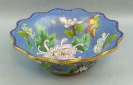 Vintage Brass Metal Decorated Cloisonne Bowl flowers Blue - $39.59