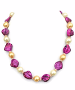 Fuchsia Pink Choker Necklace and Earrings Jewelry Set with Shell Beads - $24.90+