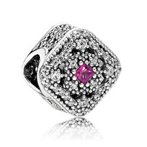 925 Sterling Silver Fairytale Treasure with Cerise Crystal Charm Bead QJ... - $22.88