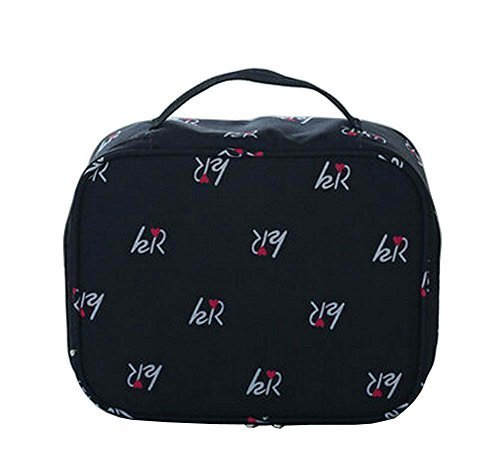 [Black] Stylish Waterproof Cosmetic Bag Toiletry Bag Makeup Case