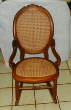 Solid Walnut Carved Caned Sewing Rocker / Rocking Chair  - $499.00