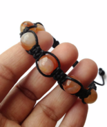 Orange Carnelian Unisex or Men's Knot Bracelet with Gemstones - $29.90