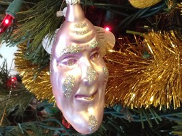Made in Germany blown glass Crescent Moon smiling sparkly hand painted ornament - $20.78