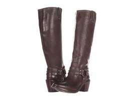 NEW Frye Carmen Harness Tall High Boots Dark Gray / Brown sz 5.5 - $179.00