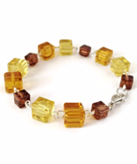 Yellow and Brown Cube Bead Links Bracelet for Ladies - $14.90
