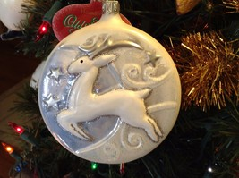 Blown glass White flying Reindeer over crescent moon hand painted ornament