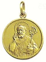 SOLID 18K YELLOW GOLD ROUND MEDAL, SAINT NICOLAS, NICOLA, DIAMETER 17mm image 1