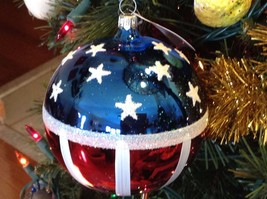 "Blown glass USA Flag inspired Red White and Blue 4"" hand painted ornament"