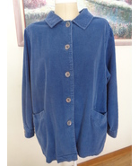 Woman Within Coat Blue Corduroy Womens 1X Swing Jacket  NWOT 92085 - $39.99