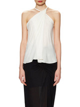 Helmut Lang Top Leather Strap Twist Neck Feathery Viscose NWT Sz S - $127.49