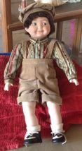 Heritage Mint Collection porcelain 15 in boy doll brown corduroy short p... - $5.00