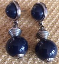 LOVELY SILVER TONE DANGLING PIERCED EARRINGS W/DEEP BLUE BALLS - $5.74