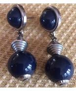 LOVELY SILVER TONE DANGLING PIERCED EARRINGS W/DEEP BLUE BALLS - £4.60 GBP