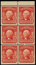 319g, Mint XF OG NH Gem 2¢ Booklet Pane of Six Stamps - Stuart Katz - $400.00