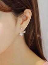 Front and Back Mother of Pearl Flower ear jacket ,Daisy Flower Ear Jacke... - $15.00
