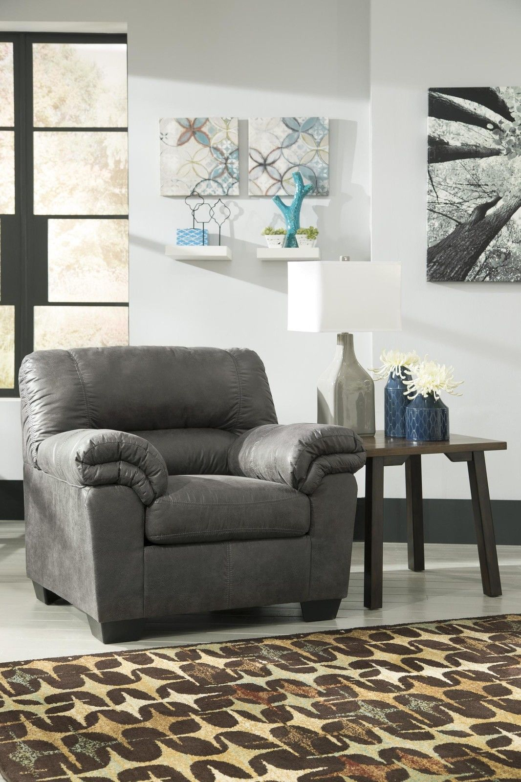 Ashley bladen living room set 3pcs faux leather slate contemporary
