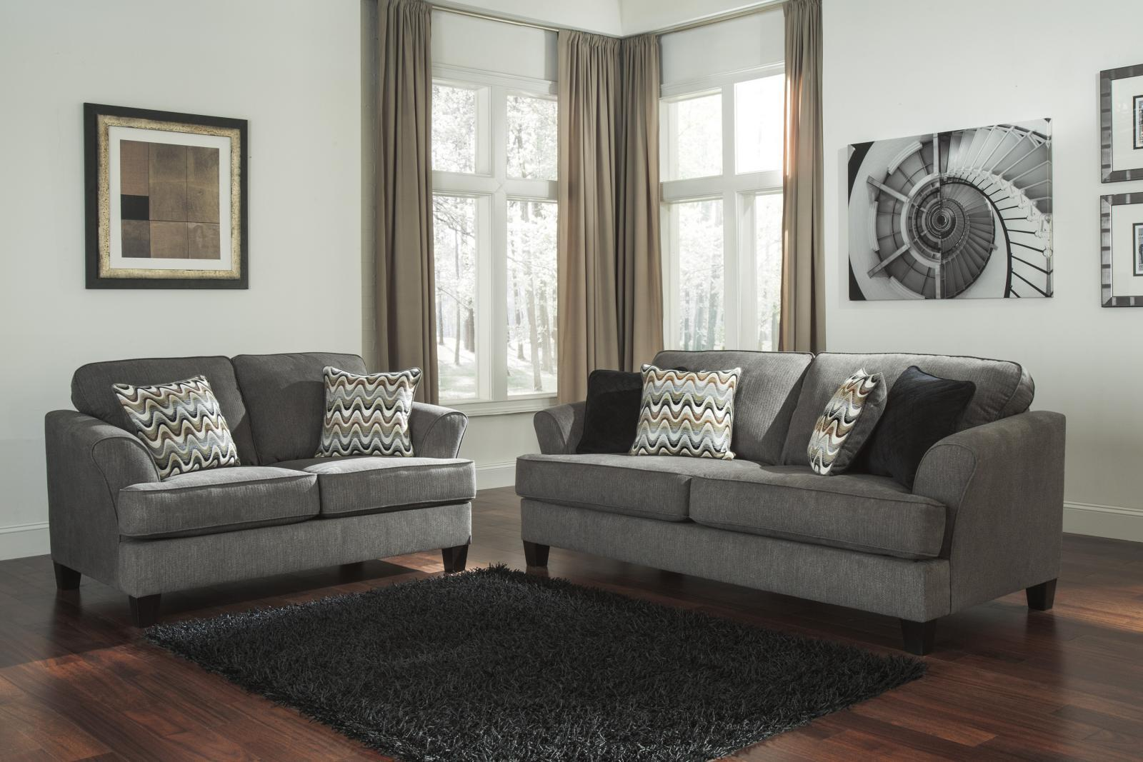 Ashley Gayler Living Room Set 2pcs in Steel Upholstery Fabric Contemporary Style