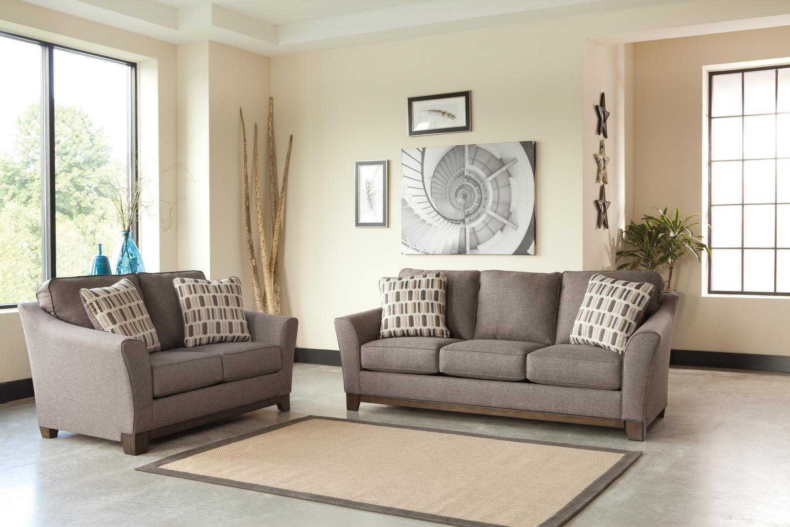 Ashley Janley Living Room Set 2pcs in Slate Upholstery Fabric Contemporary Style