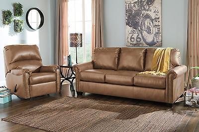 Ashley Lottie DuraBlend Queen Size Sofa Sleeper Set 2pcs in Almond Contemporary