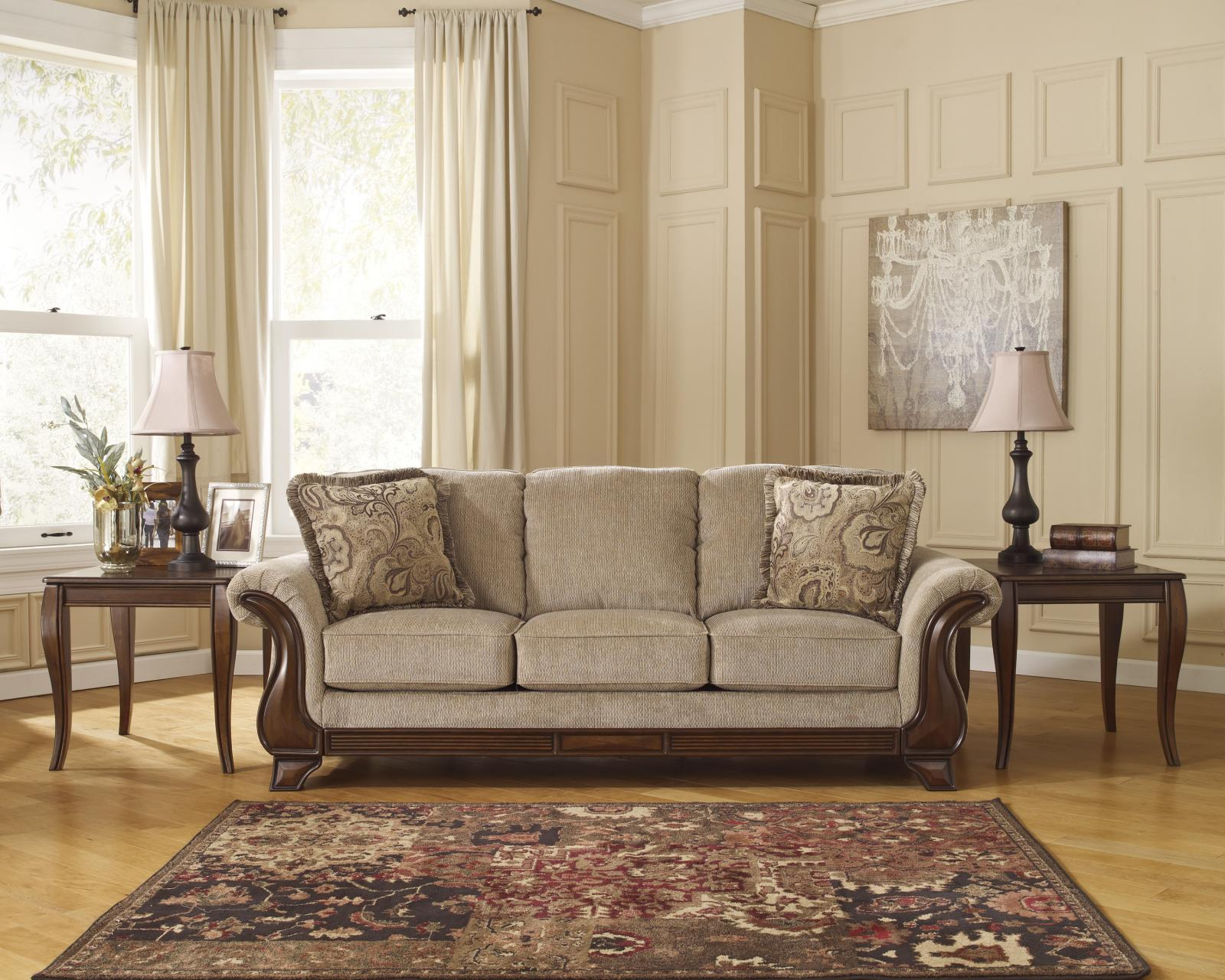 Ashley Lanett Living Room Set 3pcs in Barley Upholstery Fabric Traditional