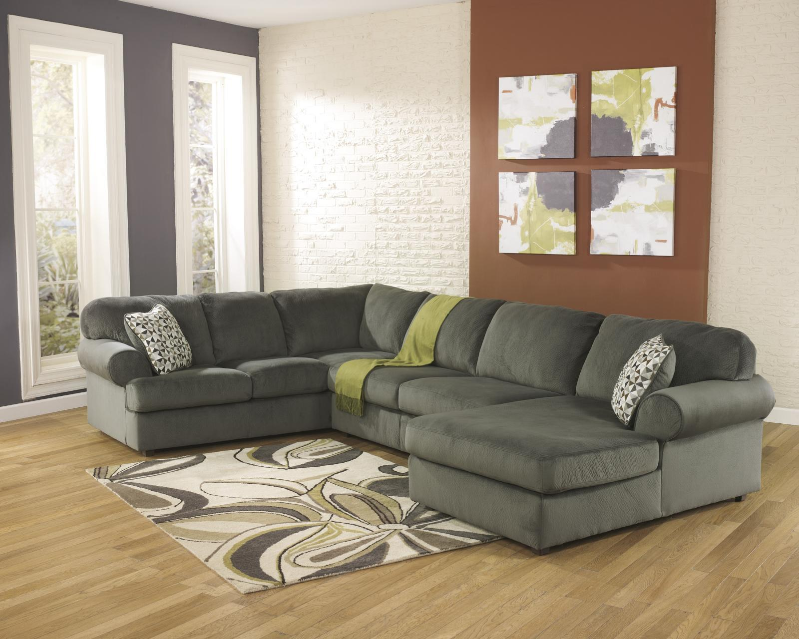 Ashley Jessa Place Living Room Sectional 3pc in Pewter Contemporary Right Facing