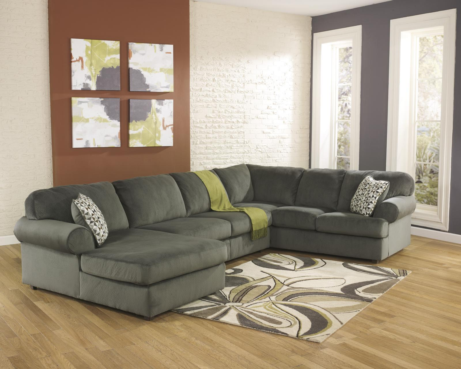 Ashley Jessa Place Living Room Sectional 3pc in Pewter Contemporary Left Facing