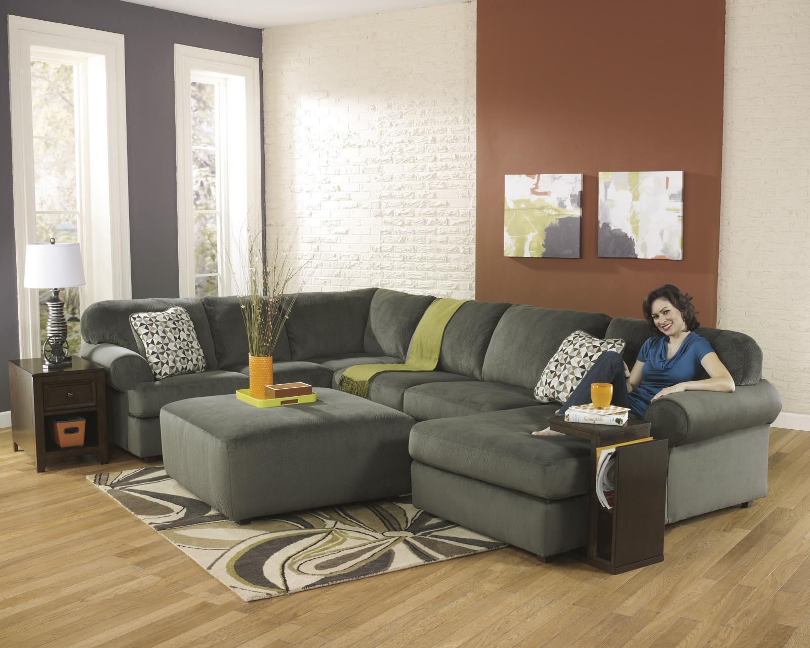 Ashley Jessa Place Living Room Sectional 4pc in Pewter Contemporary Right Facing