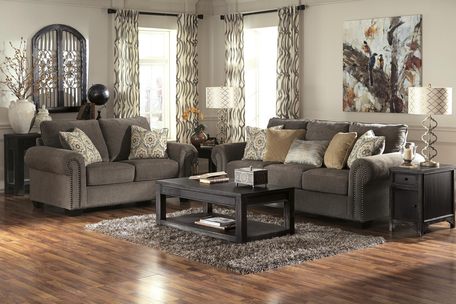 Ashley Emelen Living Room Set 2pcs in Alloy Upholstery Fabric Contemporary Style