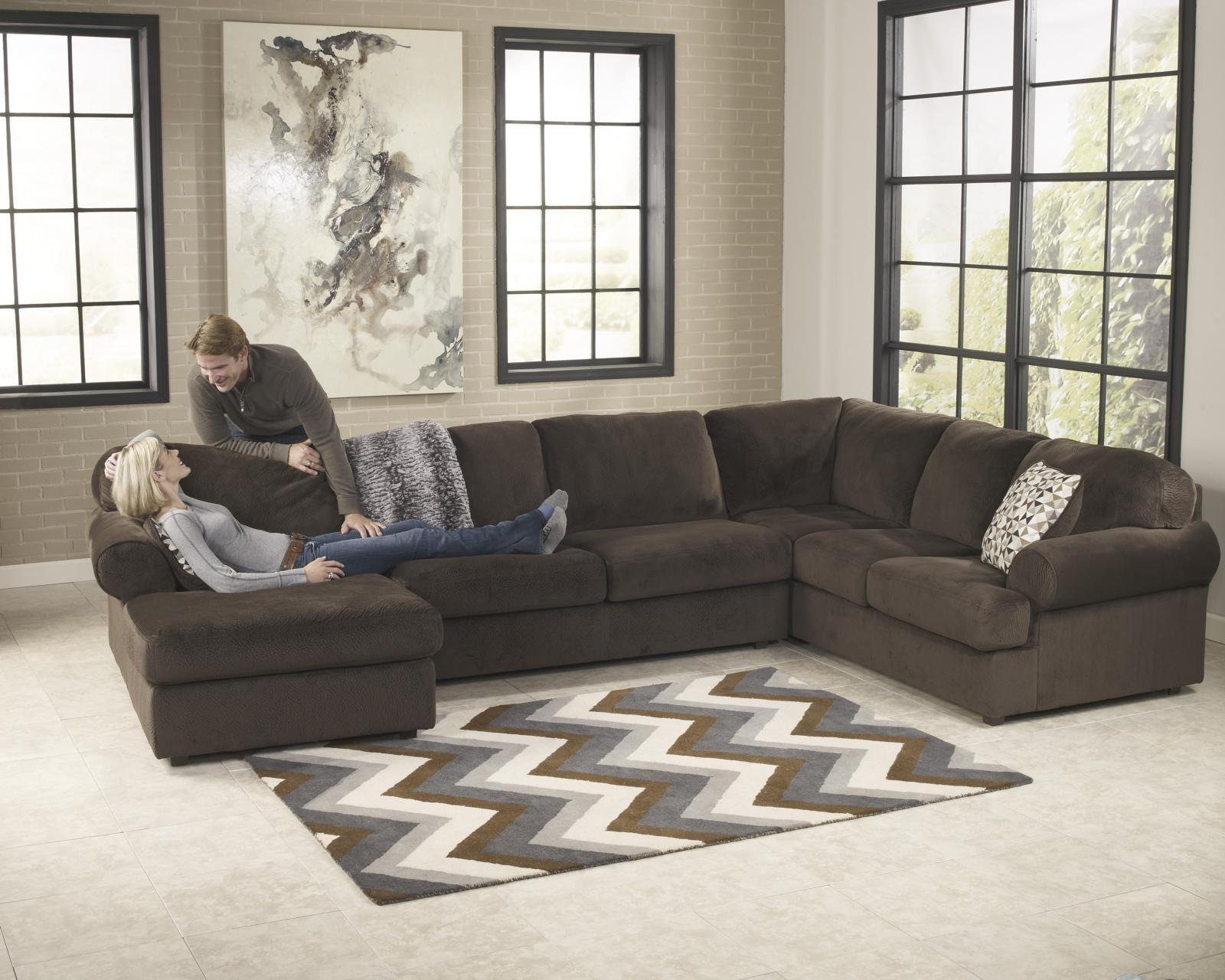 Ashley Jessa Place Living Room Sectional 3pcs in Chocolate Right Facing