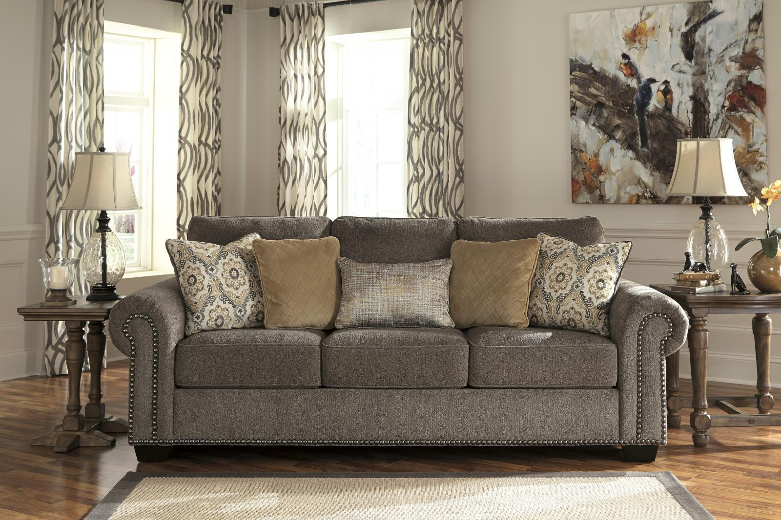 Ashley Emelen Living Room Set 3pcs in Alloy Upholstery Fabric Contemporary Style