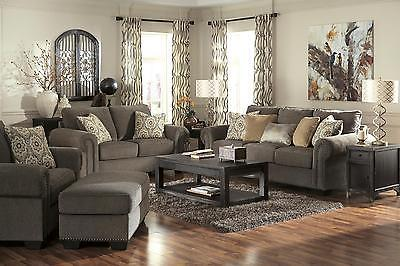 Ashley Emelen Living Room Set 4pcs in Alloy Upholstery Fabric Contemporary Style