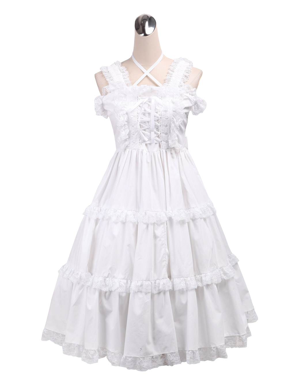 Primary image for ZeroMart White Cotton Lace Sweet Ruffles Halter Vintage Victorian Lolita Dress