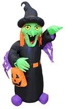 4 Foot Tall Halloween Inflatable Witch With Pumpkin Bag Decoration - £42.15 GBP