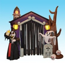 8.5 Foot Large Yard Decor Halloween Inflatable Haunted House Castle Ske... - £288.89 GBP