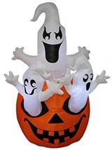 5 Foot Tall Halloween Inflatable Three Ghosts With Pumpkin Decoration - £87.43 GBP
