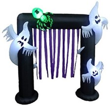8 Foot Lighted Halloween Inflatable Ghosts + Spider Archway Party Decora... - £111.40 GBP