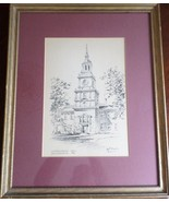 """VINTAGE SIGNED """"JAS F. MURRAY"""" INDEPENDENCE HALL HISTORICAL PHIL., PA PRINT - $20.98"""