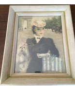 LOVELY HULDAH PRINT IN WOOD FRAME OF WOMAN W/DOG IN PARIS, 1960'S - $27.00