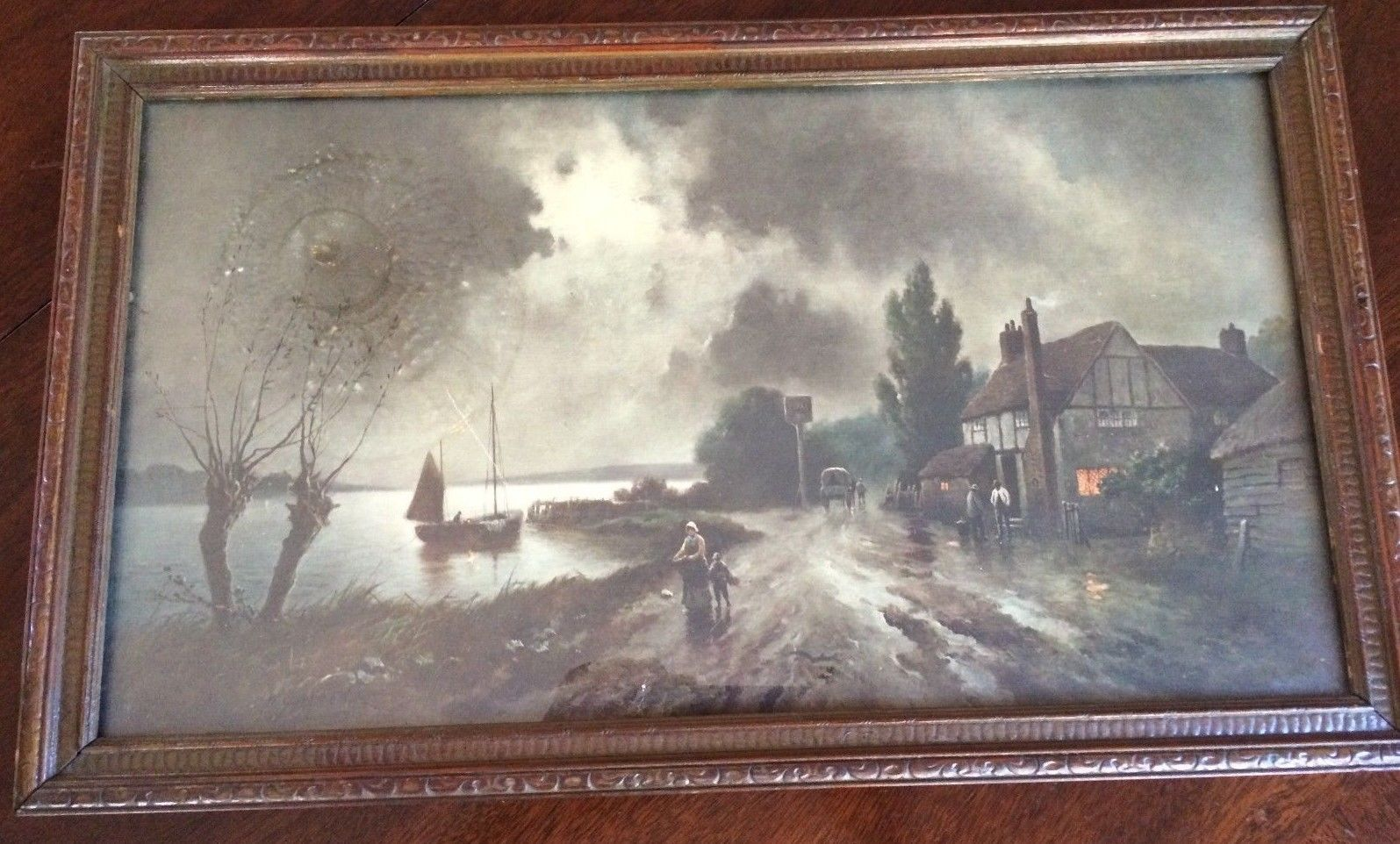 ANTIQUE/VINTAGE SEASIDE LANDSCAPE SCENE PRINT W/WOOD FRAME, VG
