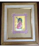 """TED DEGRAZIA ARTWORK TITLE """"LOVE ME"""" FRAMED IN OAK & DOUBLE MATTED, VG - $12.20"""