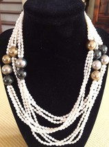 "Lovely Long 55"" Vintage/Retro Imit. Triple Stand Pearl Colored Beaded Necklace - $6.32"