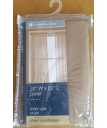 """CURTAIN PANEL,ESSENTIAL HOME 59""""W X 63""""L SHEER VOILE TAUPE, NEW IN ORIG.... - $6.22"""