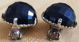LOVELY VINTAGE/RETRO BLACK DISCO BALL CLIP ON EARRINGS, VG CONDITION. - $6.32