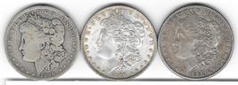 Nice group of three Morgan Dollars from  1884,1889,1890O - $84.00