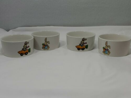 """Sheffield Home 4""""x2"""" pudding bowl lot of 4 New happy Easter bunny rabbit set - $24.75"""
